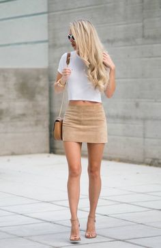 Suede Low Rise Skirt