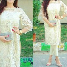 White creamy colour net and silk kurti style