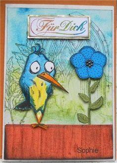 Sophie's Art: Vogel mit Blume - Crazy Bird with flower