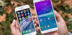 Apple iPhone 6 white vs Samsung Galaxy Note 4 White - Wallpaper