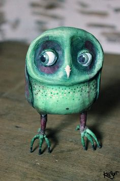 OWL green and violet by KriSoft on Etsy Owl Art, Bird Art, Owl Pictures, Beautiful Owl, Ceramic Birds, Bird Sculpture, Clay Figures, Paperclay, Clay Animals