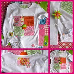 Tshirt Cupcake com aplicações em tecido.Agulhamagika_Ref.AM585