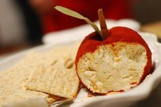 Apple Cheese Ball - You can never go wrong with a yummy cheeseball, but presenting it as an apple?? Who thinks of this stuff? Brilliant!