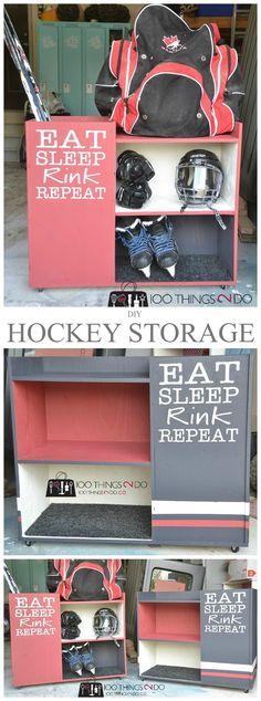 DIY Hockey Storage Rack - Storage Cart - Ideas of Storage Cart - Hockey storage sports storage DIY hockey storage rack DIY sports rack Hockey Crafts, Hockey Decor, Hockey Birthday, Hockey Party, Hockey Girls, Hockey Mom, Hockey Stuff, Boys Hockey Bedroom, Youth Hockey