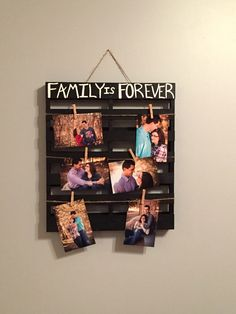 Family is Forever Photo Display/ Family Picture Pallet/ Family Picture Board Picture Holder/ Picture Pallet/ Wood Pallet/ Picture Display by JandAWoodshop on Etsy https://www.etsy.com/listing/255942941/family-is-forever-photo-display-family