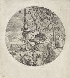Anonymous | Boommens, Anonymous, Jheronimus Bosch, 1550 - 1575 | Een gedrocht, deels mens en deels boom, dobbert op twee vissersboten op een rivier in een weids landschap met daarin een hert en enkele vogels, waaronder een ooievaar en een uil. De figuur draagt een kruik op zijn hoofd. Uit de kruik klimmen twee mannen met behulp van een ladder. Door een gat in de romp van het wezen is een etend en drinkend gezelschap rond een tafel te zien. Uit het gat steekt een vlag met een halve maan, het…
