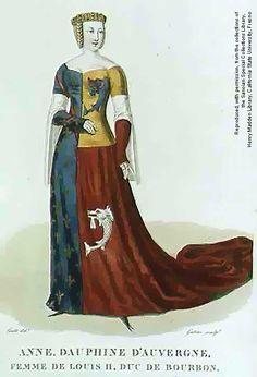Heraldic dress, with white tippets.    http://thecostumersmanifesto.com/costumeoldsite//history/greatwomen/10336_26.jpg
