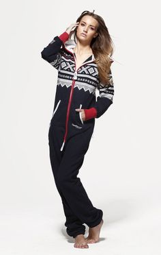 This Luxury OnePiece Marius Adult Onesie in Navy,White  traditional Norwegian Knit-Pattern Print