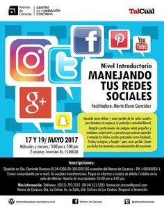 """Marta Elena González dicta Nivel Introductorio del Taller """"Manejando tus Redes Sociales"""", el 17 y 19 de mayo, a las 5:00 pm., en el Ateneo de Caracas"""