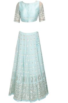 Devnaagri presents Sky blue and silver gota patti embroidered lehenga set available only at Pernia's Pop Up Shop. Indian Bridal Lehenga, Indian Bridal Fashion, Ethnic Outfits, Indian Outfits, Indian Attire, Indian Wear, Indian Couture, India Fashion, Women's Fashion