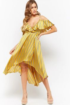 Product Name:Striped Open-Shoulder Wrap Dress, Category:dress, Got The Look, Shop Forever, Forever 21 Dresses, New Dress, Latest Trends, Party Dress, Wrap Dress, Summer Dresses, My Style