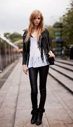 Leather, black & white, rock on! #Rock fashion