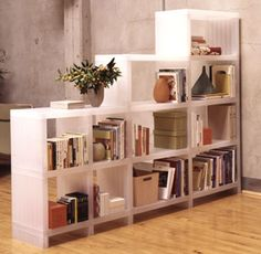 I want a shelf like this to divide the dining room and a living room, except it should have space for an HDTV.
