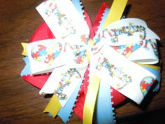 Check out this item in my Etsy shop https://www.etsy.com/listing/248951221/autism-awareness-hair-bow