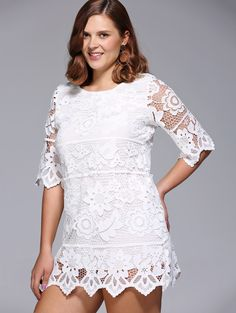 Chic Women's Plus Size Floral Lace Overlay Lined Dress