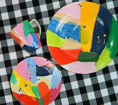 Abstract Art Painted Dishes (that are dishwasher safe)  Inspired by Martinich and Carran.