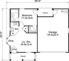 First Floor Plan of Cabin Cottage Country Ranch Traditional Vacation House Plan 95837