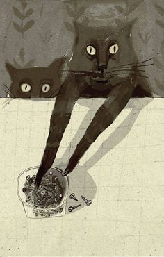black cat Illustration by Alisa Yufa. Illustration Inspiration, Illustration Art, Crazy Cat Lady, Crazy Cats, Weird Cats, Black Cat Art, Black Cats, White Kittens, Image Chat