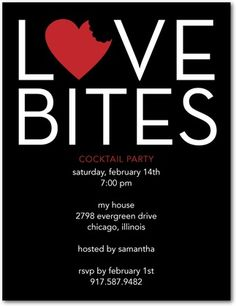 Love Bites - Signature White Valentine's Day Party Invitations - DwellStudio - Black : Front