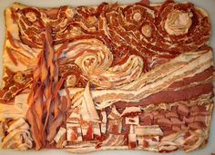 "Wonderful rendition of Van Gogh's ""Starry Night"", in bacon. Or would that be a rendering?"