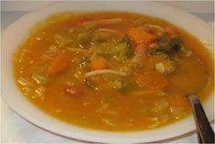 Pumpkin, beans and vegetable soup - Couldn't be more healthy! Portuguese Bean Soup, Portuguese Recipes, Bean And Vegetable Soup, Veggie Soup, Sweets Recipes, Soup Recipes, Cooking Recipes, Turkey Soup, Pumpkin Soup