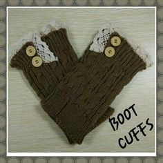 *BROWN CROCHET LACE BOOT CUFFS Brown crochet boot cuffs with lace trim and button accents. Accessories Hosiery & Socks