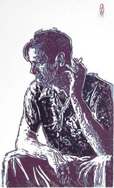 Woodcut Portrait Of Alan Watts II By German Born Printmaker Dirk Hagner