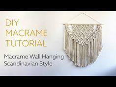 DIY Macrame Tutorial - Large Macrame Wall Hanging: Scandinavian Style - YouTube Macrame Wall Hanging Patterns, Crochet Wall Hangings, Yarn Wall Hanging, Macrame Patterns, Macrame Knots, Diy Macrame, Macrame Modern, Micro Macrame, Macrame Design