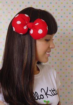 RED Minnie Mouse hair bow CLIP woman hello kitty Halloween Costume #Handmade