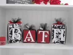 Blocks-Wooden-Bathroom Decor-Black and White Damask with Red Accent