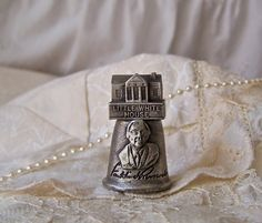 Vintage Pewter Thimble Little White House by cynthiasattic on Etsy, $20.00