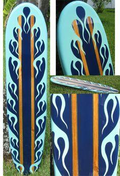 TIKI SOUL DECORATIVE SURFBOARD ART - Inferno beach  Surfboard decor, beach decor, surfer, decorative surfboard wall art