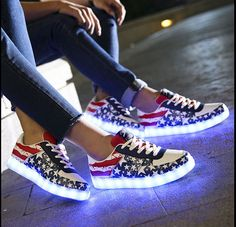 8 Colors LED Sneakers USB Charging New Simulation Shoes Light Up Sneakers For Adults Lovers Women ...