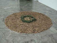 Entre restos de madera  y unas flores secas