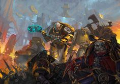 Imperial Fists Chaplain goes after a Night Lord's raptor in single combat while all around them battle rages. Warhammer 40k Art, Warhammer Fantasy, Night Lords, Eternal Crusade, Imperial Fist, Fantasy Battle, Space Wolves, Angel Of Death, Space Marine