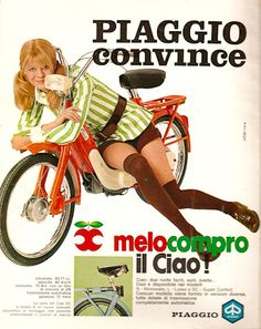 vintage everyday: Groovy Chicks on Vintage Motorbike Ads: 26 Fascinating Scooter and Motorcycle Adverts from the Retro Advertising, Advertising Campaign, Vintage Advertisements, Vintage Ads, Vintage Italian Posters, Poster Vintage, Old Posters, Pin Up, Motorcycle Posters