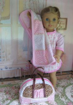 """Flannel Nightshirt for your 18"""" doll.        My Blankie Sleepover Combo:  Nightshirt, Overnight bag, and Cuddly Blankie for an 18"""" doll"""