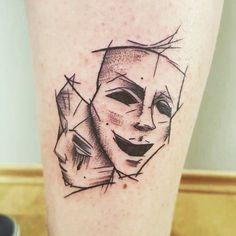 mask theatre by Richy at tattoo anansi Munich