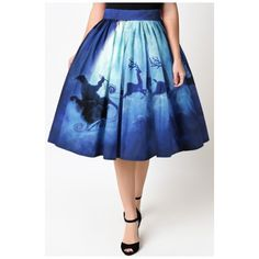 Hot Popular Digital Moon Santa Claus Printed Midi A-Line Flared Skirt (€22) ❤ liked on Polyvore featuring skirts, flared skirts, midi circle skirt, blue skater skirt, circle skirt and a line flared skirt