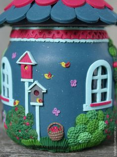 """Купить Баночка-шкатулка """"Летний вечер"""" - деним, красный, малиновый, домик, малина, велосипед, лето"""