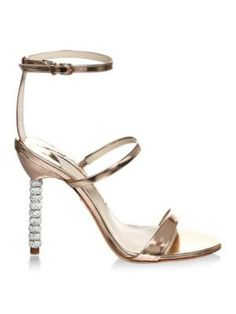 Great for Sophia Webster Crystal-Embellished Leather Stiletto Pumps ROSE GOLD Womens Shoes from top store Strappy Sandals, Leather Sandals, Embellished Heels, Gold Shoes, Sophia Webster, Stiletto Pumps, Pretty Shoes, Online Shopping Stores, Metallic Leather