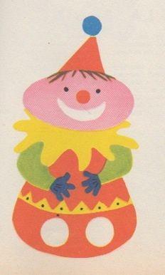 Clown marionnette à doigts, à découper