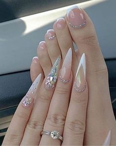 Bling Acrylic Nails, Best Acrylic Nails, Summer Acrylic Nails, Rhinestone Nails, Pink Nails, Gel Nails, Stiletto Nails Glitter, Bling Nail Art, Pastel Nails