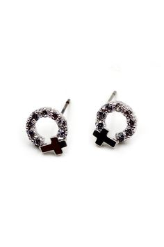 Mini metal crystal earrings