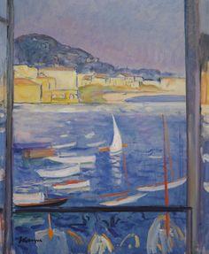 Henri Lebasque (French, 1865-1937), Villefranche-sur-Mer, fenêtre ouverte sur le port, 1926. Oil on canvas, 55 x 46.2 cm.