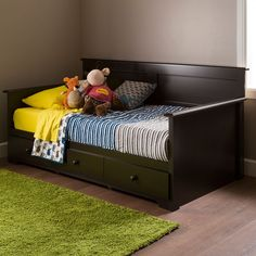 South Shore Furniture Summer Breeze Brown Laminate Wood Twin Daybed with Storage (Summer Breeze Daybed with Storage Chocolate) Bed Furniture, South Shore Furniture, Bed, Daybed, Furniture, Bed Storage, Daybed With Storage, Trundle Bed, Bedroom Furniture