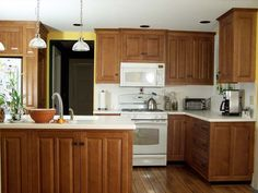 Kitchens With Oak Cabinets And White Appliances