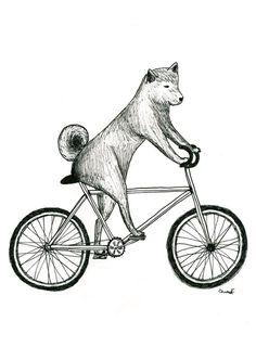 Shiba Inu Dog Riding a Bicycle Print by itllglowonyou on Etsy, $9.99