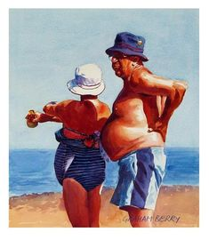 """Daily Paintworks - """"After you with the sunscreen, dear."""" - Original Fine Art for Sale - © Graham Berry Painting People, Figure Painting, Watercolor Portraits, Watercolor Paintings, Watercolours, Wow Art, Beach Scenes, People Art, Beach Art"""