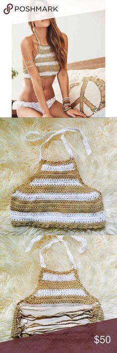 Pilyq Blair Halter Crochet high next Halter from PilyQ. Worn once, in perfect condition. Pilyq Swim Bikinis